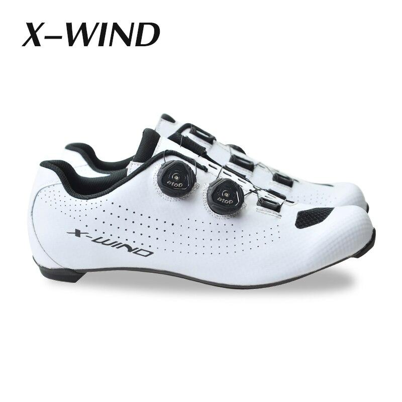 X WIND carbone chaussures de vélo de route verrouiller chaussures de cyclisme hommes course vélo de route vélo baskets professionnel athlétique respirant