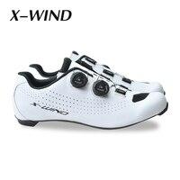 X vento de carbono sapatos bicicleta estrada bloqueio sapatos ciclismo homem corrida de estrada da bicicleta tênis profissional atlético respirável|Sapatos de ciclismo|   -