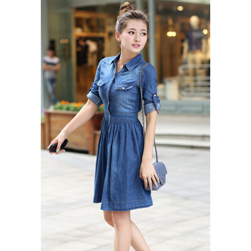 Robe Sale Cotton Solid Plus Size Dress Women Dress 2017 Spring New Casual  Fashion Slim Long Half Sleeve Soft Washed Jeans S 4xl -in Dresses from  Women s ... d2a5ad96d
