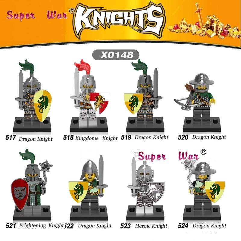 1PCS star wars super heroes dc Medieval Knights Gladiatus Dragon Warrior building blocks model bricks toy for children