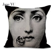JaneYU Linen Cotton Blend Pillow Case Home Square Decorative Pillowcases 45x45cm