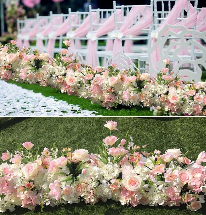 Свадебные ярко розовый цвет Искусственные цветы розы полоски pavillion Свадебный Полог украшенные цветами события реквизит 3 м x 24 см