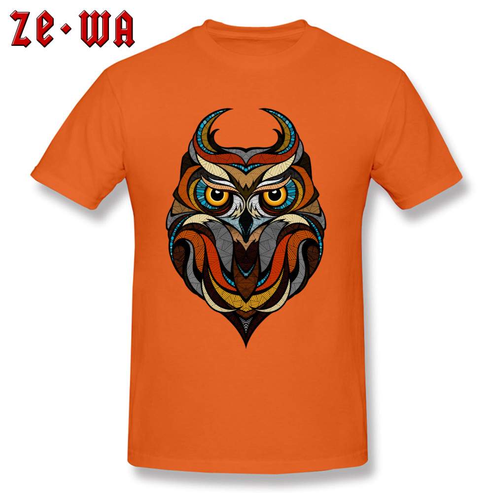 Customized Decorative Owl Mens T-Shirt 2018 Summer Short Sleeve Crewneck 100% Cotton Tops T Shirt Printing Tops T Shirt Decorative Owl  orange