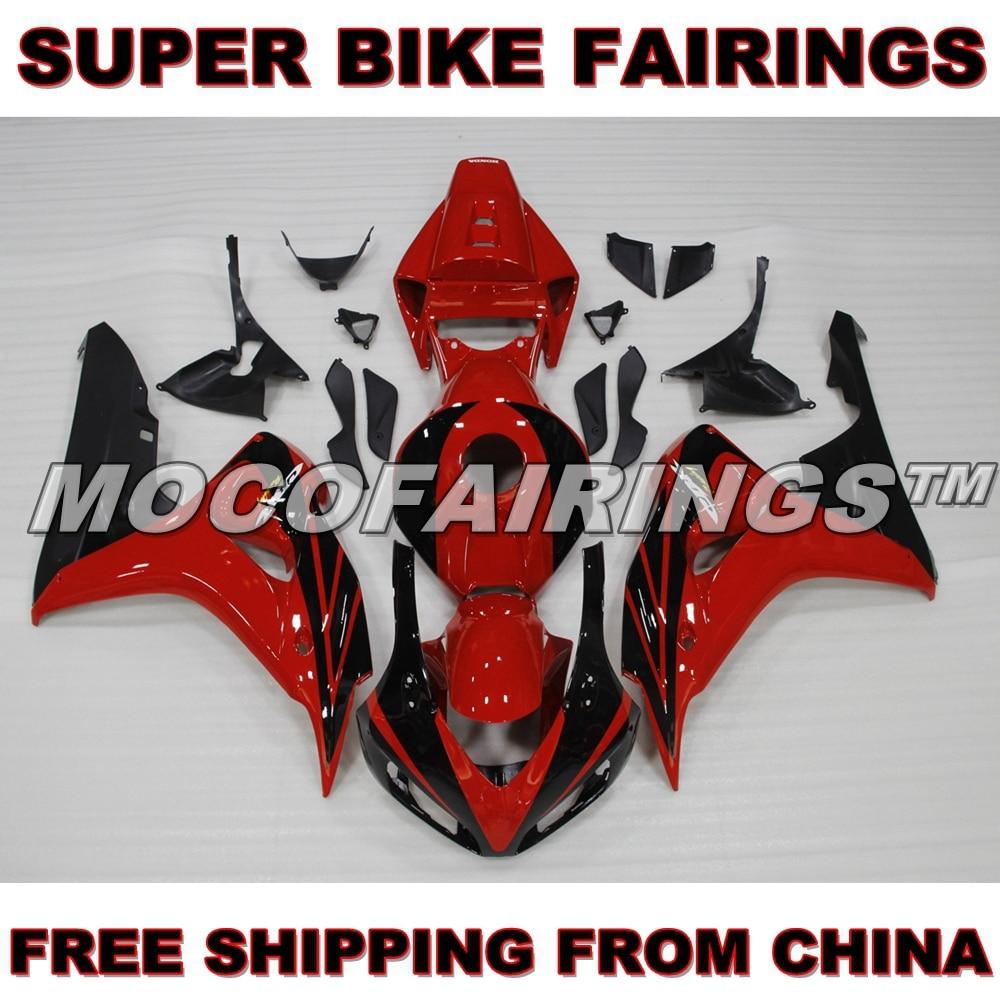 For Honda 2006 2007 CBR1000RR RED AND BLACK Motorcycle ABS Fairings Body Kit 06 07 new hot moto parts fairing kit for honda cbr1000rr 06 07 white blue injection mold fairings set cbr1000rr 2006 2007 ra14