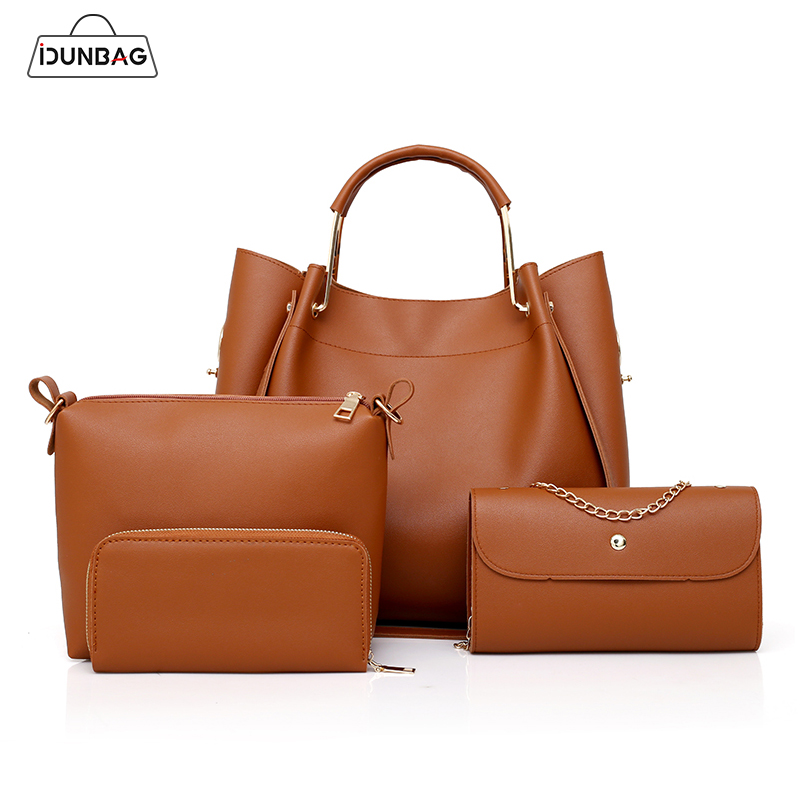 4Pcs Women Pu Leather Handbags Set bucket shoulder bags Casual Tote Bag Female+Chain Women Messenger Bag+Small Clutch Purse Sac dachshund dog design girls small shoulder bags women creative casual clutch lattice cloth coin purse cute phone messenger bag