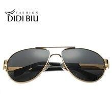 DIDI 2017 cool pilot Polarized Sunglasses Men luxury Gold big metal frame Driving Eyeglasses military goggle coating Oculos H622