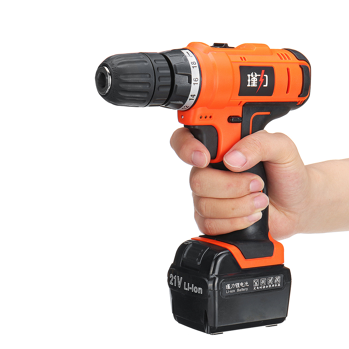 21V LED Electric Screwdriver Rechargeable Cordless Power Hammer Drill Driver Dual Speed Reverse