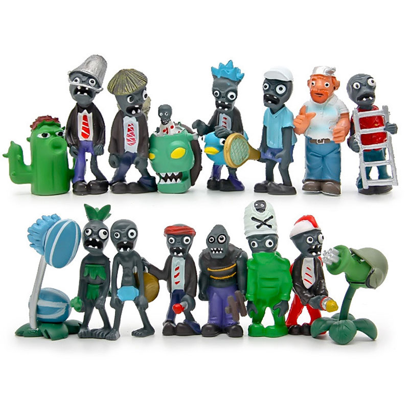 16pcs/set Plant VS Zombie Series 2 Anime Figure Toys 4-8cm PVZ PVC Model Collective Dolls Kid Toys