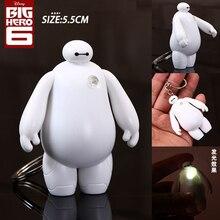 Free Shipping Big Hero 6 Baymax Anime Key Chain Cute LED Light Action Figure Toy Pendant Keychain 6cm