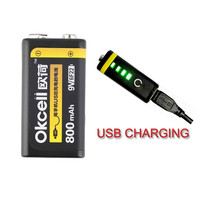 2017 High Quality OKcell 9V 800mAh USB Rechargeable Lipo Battery For RC Helicopter Model Microphone