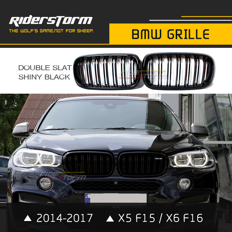 Carbon Fiber ABS X5 F15 Grill X6 F16 Grille Auto Front Bumper Mesh X5M X6M Style Dual Slat M performance Racing Sport Car Style x5 x6 m performance sport design m color front grill dual slat kidney custom auto grille fit for bmw 2015 2016 f15 f16 suv
