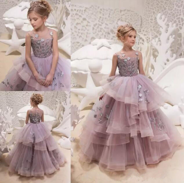Princess New Flower Girl Dresses 3D Flowers Applique Pageant Gowns Tiered Puff Communion Pageant Gown Floor Length Any Size lovely new puffy flower girl dresses beaded overskirts floor length first communion dress pageant birthday gown 2017 custom new
