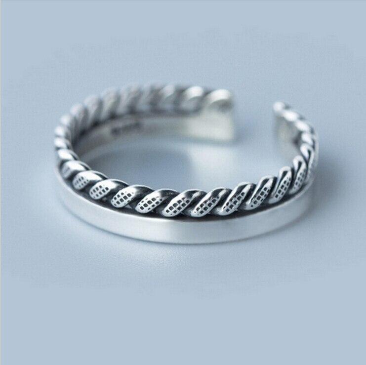 0332953e622f Anillo De Plata De ley Vintage Smooth espiral 925 Sterling Silver Anillos  De la joyería para mujeres venta al por mayor Anillos De Plata 925 en  Anillos de ...