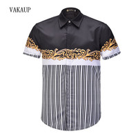 2018 New Male Printed Men Dress Shirt Paint Pattern Printed 3D Shirt Slim Fit Male short Sleeve Shirts chemise For Men