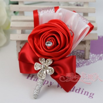 5 PCS Set Wedding Boutonniere White Red Ivory Black Rose Floral Groom Groomsman Artificial Corsage decor flowers accessories rose