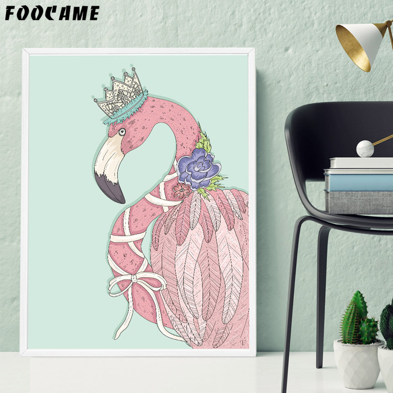 Toko Online Flamingo Foocame Kartun Kuda Unicorn Crown Poster Cetakan