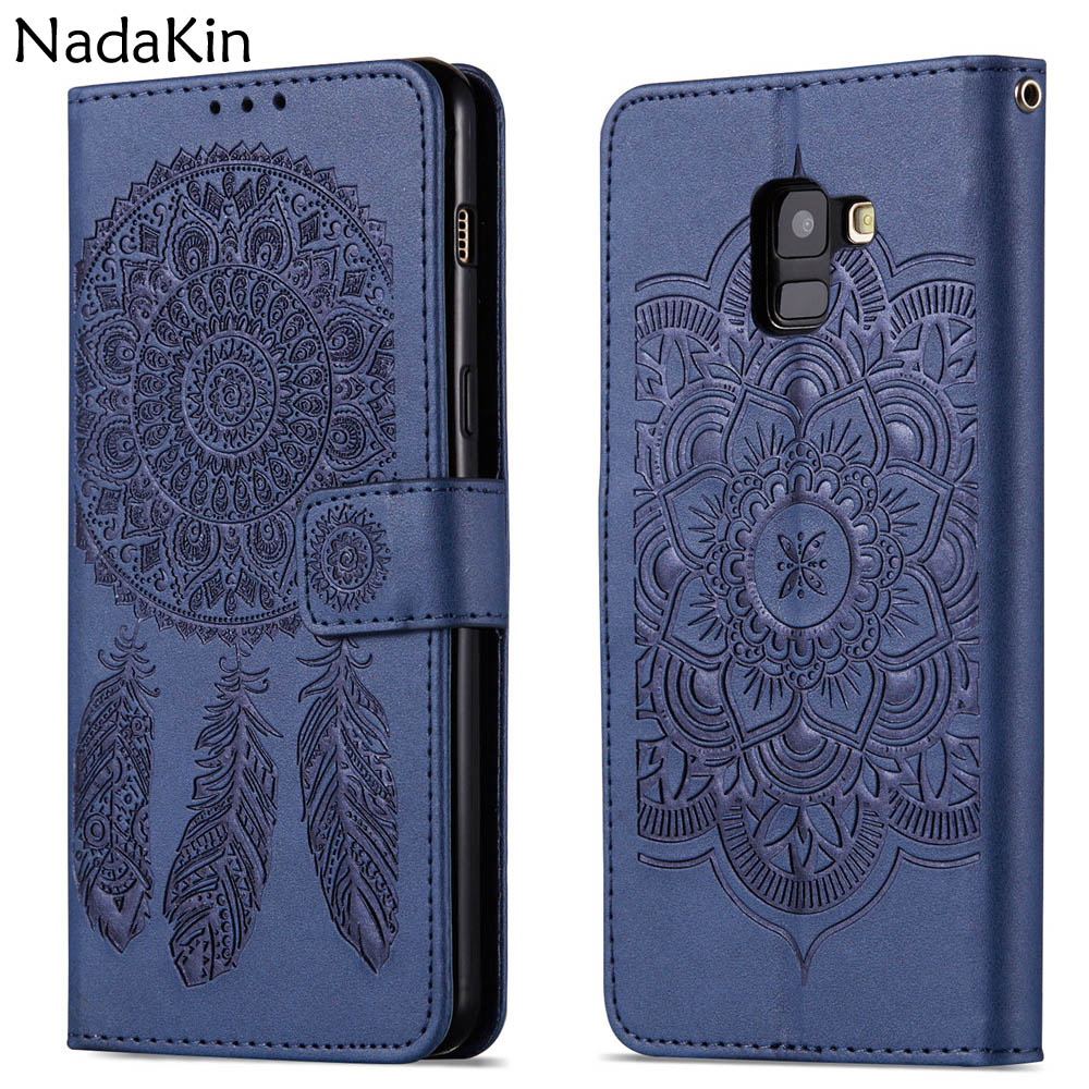 Wind Bell Flower Embossed Flip Book Case for Samsung A3 A5 J3 J5 J7 2016 2017 Note 8 9 A8 S8 S9 Plus 2018 S6 S7 Edge Cover Shell