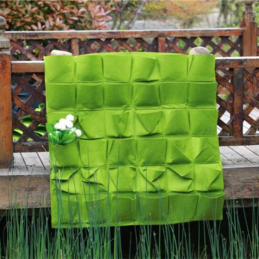 36 tasche Kostenloser Versand neue Filz Wand Wachsen Tasche Garten Tasche Hängen Wand Pflanztasche Outdoor Garten Wand Tasche Grün