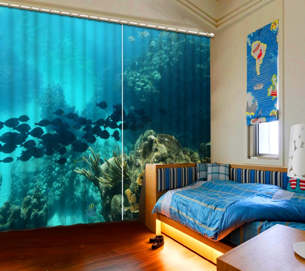 ocean curtains Window Blackout Luxury 3D Curtains set For Bed room Living room Office Hotel Home Wall Decorative Shading curtainocean curtains Window Blackout Luxury 3D Curtains set For Bed room Living room Office Hotel Home Wall Decorative Shading curtain