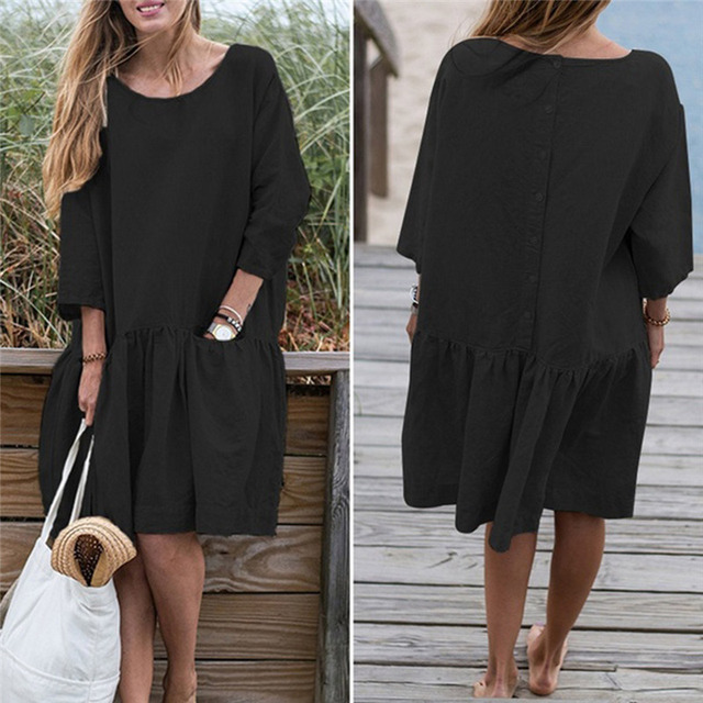 Spring Summer Dress Casual Loose Women O Neck 3/4 Sleeve Ruffle Swing Cotton Solid Color Knee-Length Dress 1
