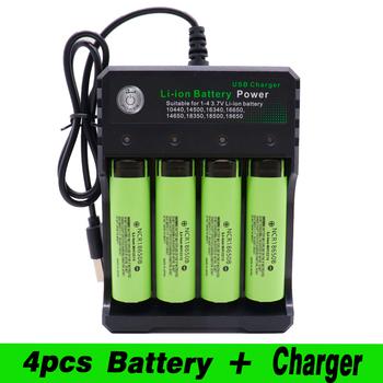 2020 18650 akumulator litowo-jonowy do Panasonic NCR 18650B 3400mAh latarka narzędzie + USB Quad Smart Char tanie i dobre opinie PINTTENEN NCR18650B Li-ion 3001-3500 mAh Ładowarka Zestawy Pakiet 1