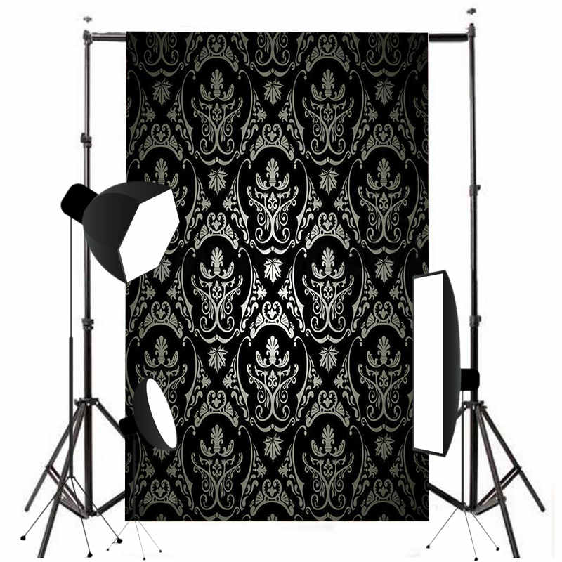 5x7FT Vinyl Photography Background Retro Damask Photographic Backdrop Black For Studio Photo Props Cloth kate shabby window backdrop for photography portable cotton photographic studio props gothic indoor background 5x7ft