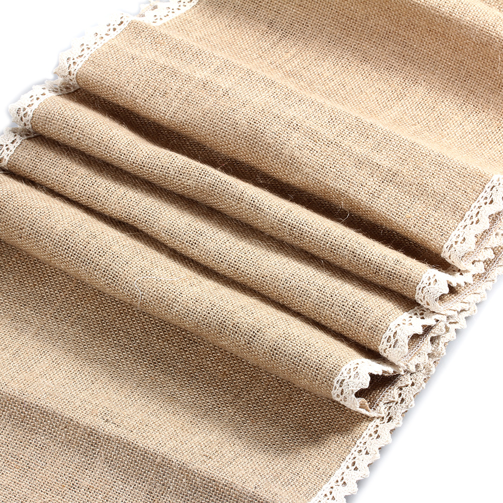 275M 108quot Quality Burlap Jute Hessian Double Lace  : 2 75M 108 Quality Burlap Jute Hessian Double Lace Vintage Wedding Table Runner For Party Decoration from www.aliexpress.com size 1000 x 1000 jpeg 687kB