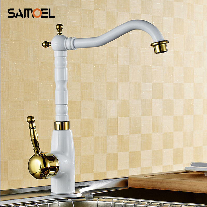 Single Tap Bathroom copper faucet basin faucet deck mounted single holder white paint hot and cold