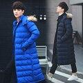 2016 мужчин зимой вниз пальто мужской плюс долго ватные куртки сплошной цвет с капюшоном парки пальто верхней одежды jaqueta masculina dj572