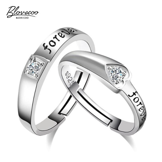 English Fashion Jewelry Heart Shaped Cubic Zirconia Timeless Luxury To Live  On Adjustable Silver Ring
