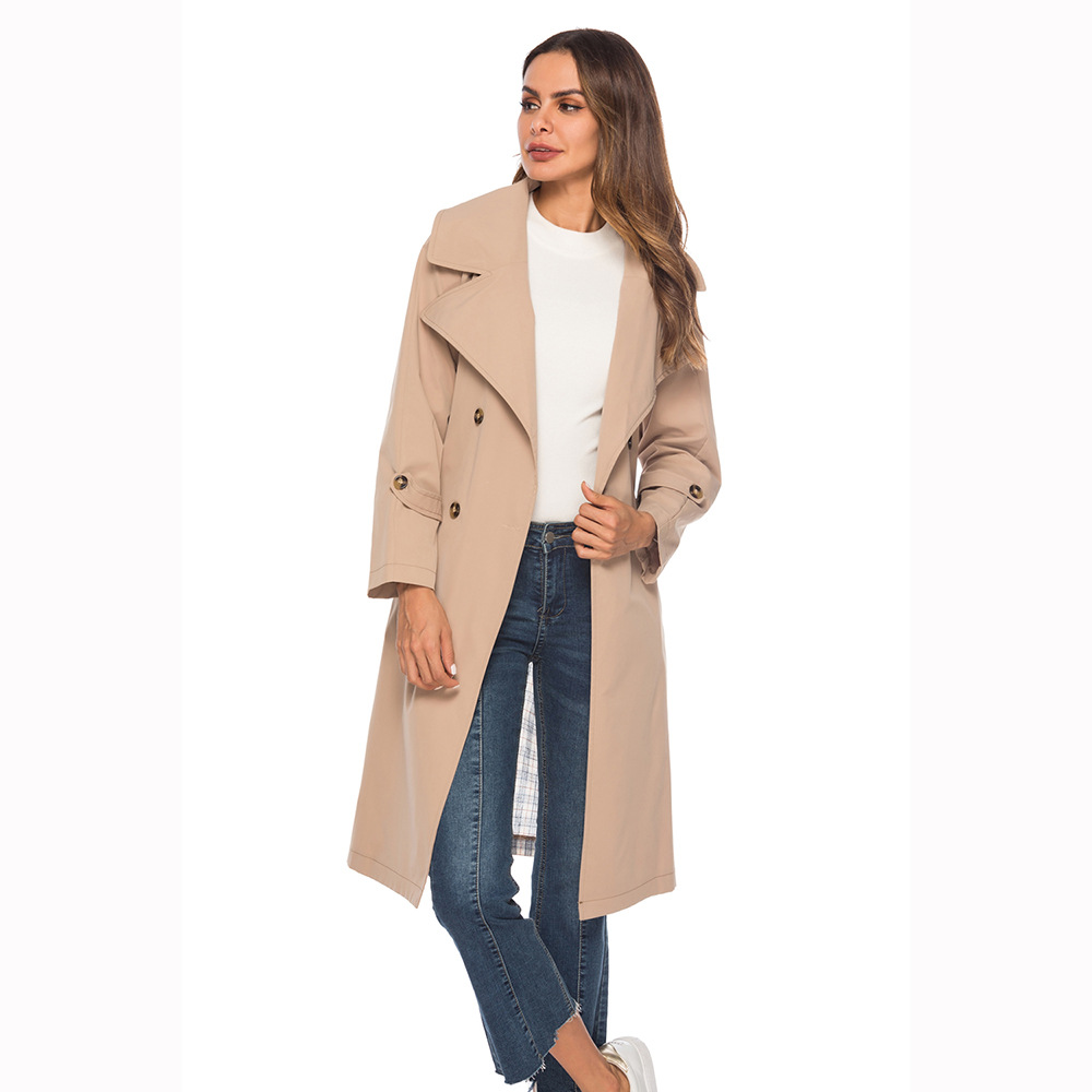 2018 New Fashion Double Breasted Mid-long   Trench   Coat Women Khaki Slim Belt Cloak Mujer Windbreaker Female Patchwork   Trench