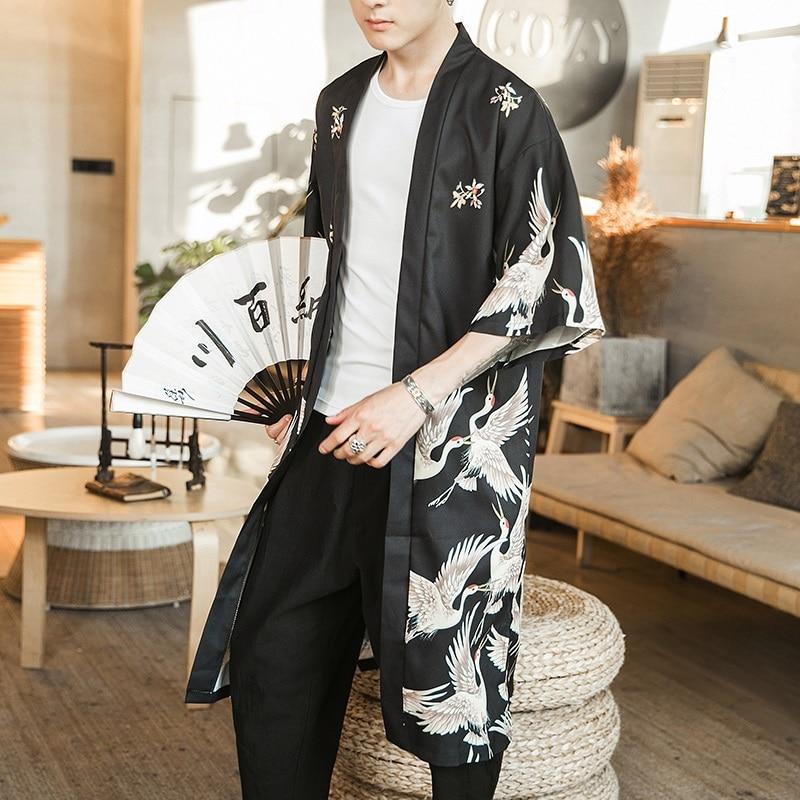 Japanese Kimono Men Clothing Haori Yukata Men Japanese Kimono Traditional Streetwear Japanese Harajuku Clothes DZ2003
