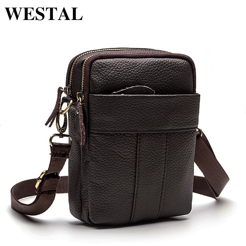 WESTAL Genuine Leather Bag Men Messenger Bags Cell Phone Pocket Travel Shoulder Crossbody Bags Business Small Male Bag Bolsa westal crossbody bags shoulder bag men genuine leather messenger bag zipper cell phone pocket black business small bags 1023