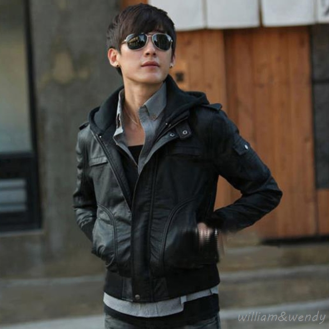 Men Slim Vintage Faux Leather Pilot Steam Punk Harley Jacket Winter Black Motorcycle Coat Patchwork Short Flight Overcoat Hooded