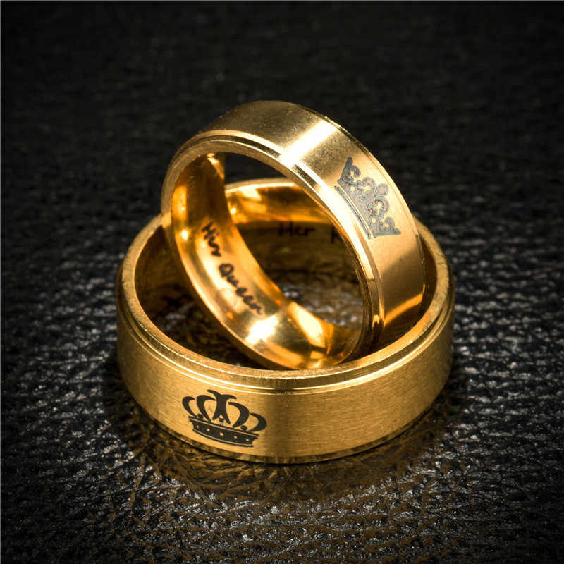 Oro Re E Queen In Acciaio Inox Corona Paio di Anelli In Oro Anelli Per Le Coppie Amanti Amore Anelli di Promessa Per Le Donne Degli Uomini