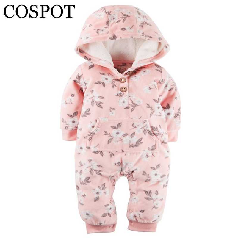 Limited Sale Infant Bebes Hooded Jumpsuit Long Sleeved Fleece Spring Rompers Baby Girls Baby Boys Newborn Clothes 2019 New 40