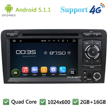 Quad Core 7″ 1024*600 Android 5.1.1 Car DVD Player Radio Stereo PC With 3G/4G WIFI DAB+ GPS Map USB For Audi S3 RS3 2003-2011 A3