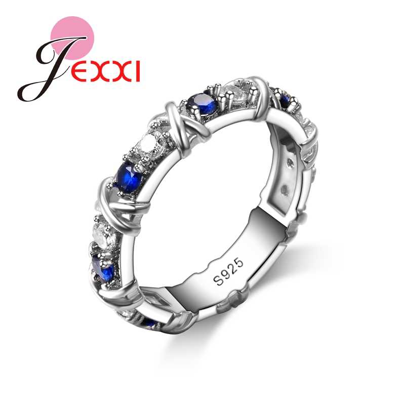 Fashion Band Jewerly 925 Sterling Silver Women Rings For Wedding Engagement Blue Cubic Zircon Classic Female Ring Bijoux