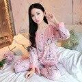 Boa Qualidade Conjuntos de Pijama mulheres Sleepwear outono de Algodão de Manga Longa Pijamas pijama feminino