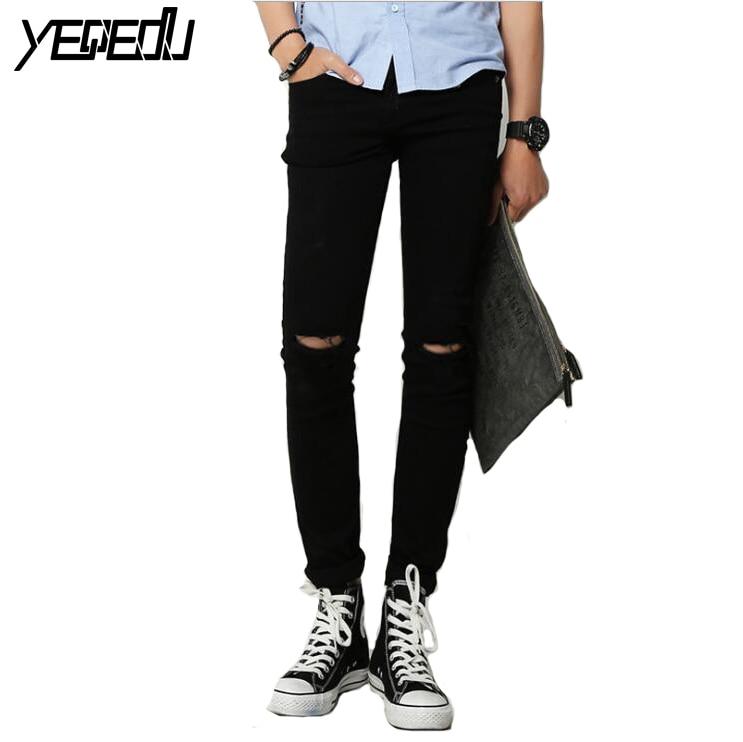 #1404 2018 Men summer jeans Thin White/Black ripped jeans men Elastic Pencil jeans Slim Vaqueros hombre distressed Stretch jeans