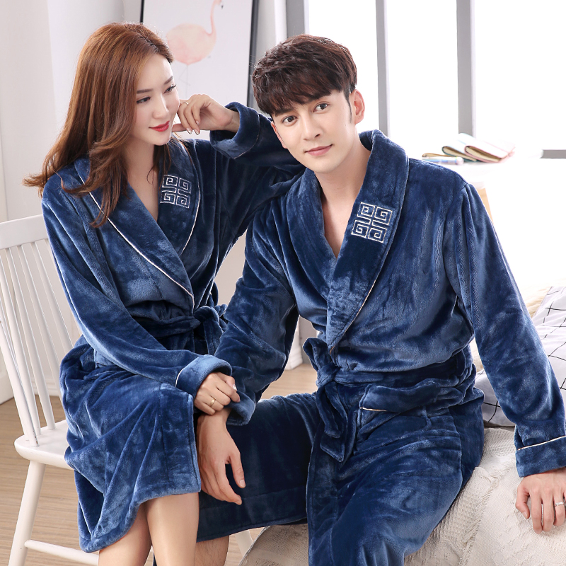 Lovers robe winter thickening coral fleece thermal bathrobe male flannel womens ultra long sexy sleepwear