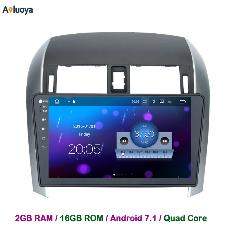 Aoluoya 2GB RAM Android 7.1 Car DVD GPS Navigation For Toyota Corolla 2007-2012 in dash Car radio audio head unit Quad Core WIFI