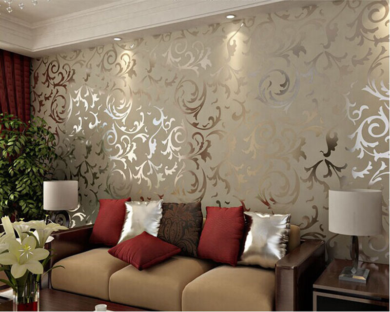 Buy european vintage luxury damask - Papier peint salon gris ...