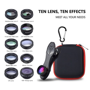 Image 5 - Набор объективов APEXEL для камеры телефона 10 в 1, широкоугольный телескоп «рыбий глаз», макрообъективы для мобильных телефонов iPhone, Samsung, Redmi 7, Huawei