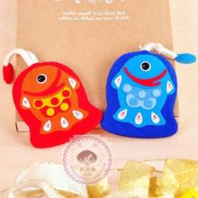 Couple Fish Style 2Pcs/set Felt DIY Keys Bag & Coin Purse Sewing Art Felt DIY Material Package Simple DIY Experience For Girls(China)