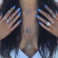 Ожерелье многослойное серебристое с кулоном в виде символа тарота и Луны, 3 шт./компл.