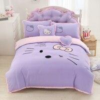 Home Textile Hello Kitty Bed Skirt Bedding Set Women Cartoon Bed Linen for Kids Gift Include Duvet Cover Bed Skirt Pillowcases