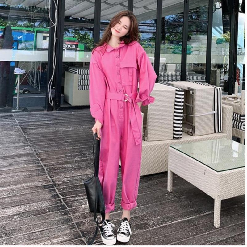 LANMREM 2019 spring new Korean long sleeved tooling jumpsuit for women female loose wide leg patns