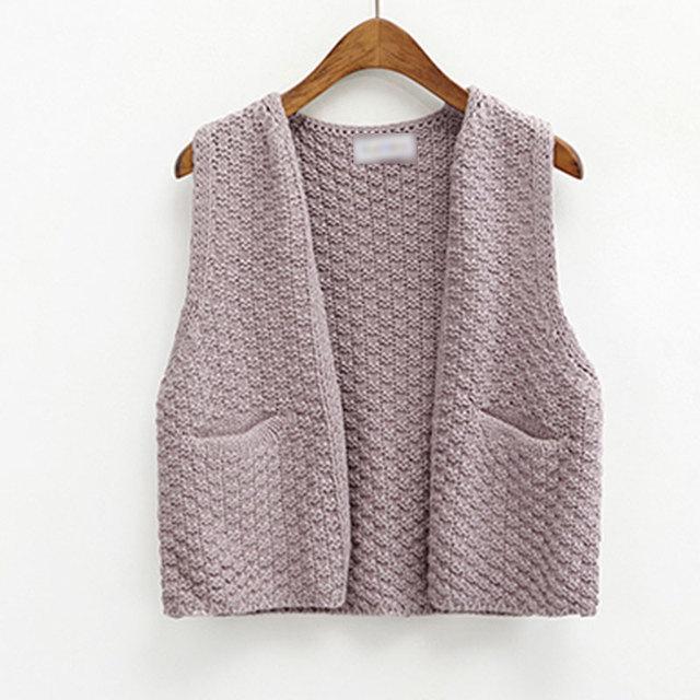 2016 Nueva Llegada Estilo Coreano Elegante Bolsillos Suéter Corto Chaquetas Para Mujer Abrigos Chaleco de Color Sólido Del Todo-Fósforo Sin Mangas Outwear