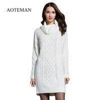 AOTEMAN Winter Sweater Women Dress New Solid Turtleneck Sweater Warm Oversize Long Sleeve Sweater Dress Casual Knitted Sweater